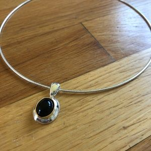 Black Stone Pendant Necklace